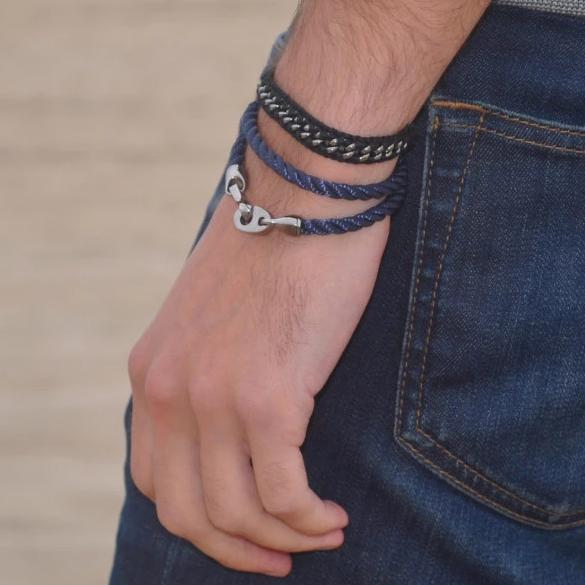 Player Double Rope Bracelet with Nickel Antique Brummels and Navy Rope
