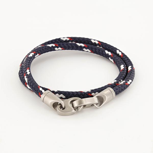 Contender Double Wrap Rope Bracelet with Matte Stainless Steel Brummels in Navy Red White