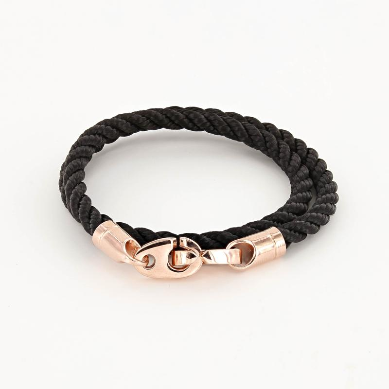 Lure Double Wrap Rope Bracelet with Rose Gold Brummels in black