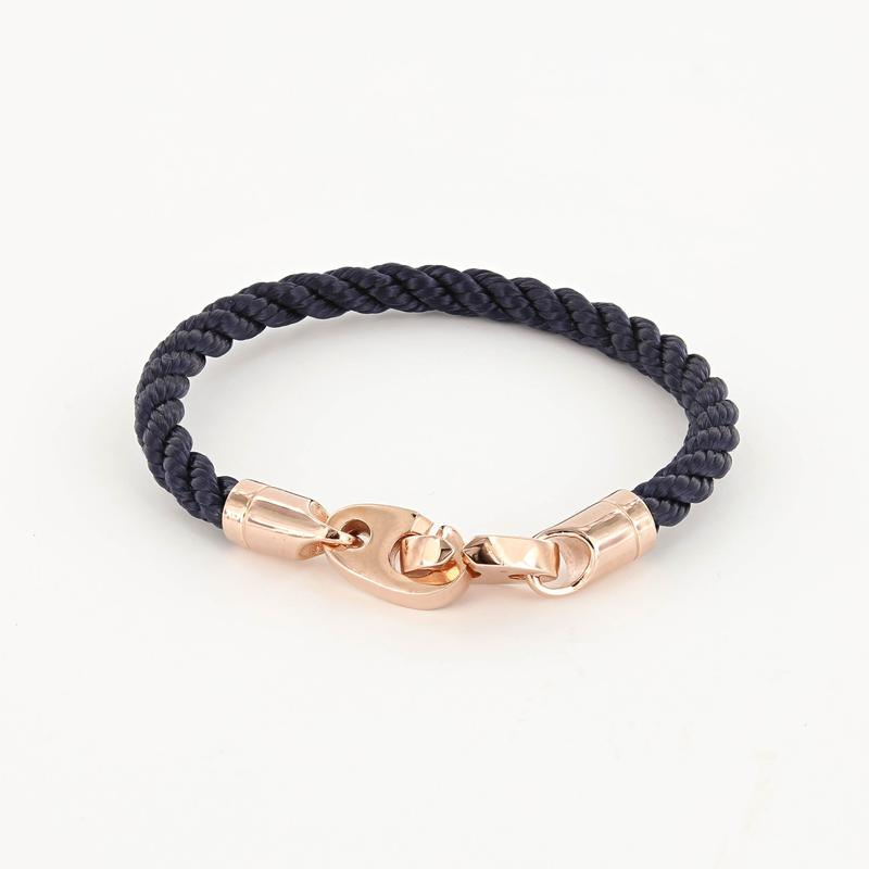 Lure Single Wrap Rope Bracelet with Rose Gold Brummels in navy blue