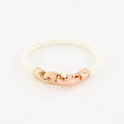 Lure Single Wrap Rope Bracelet with Rose Gold Brummels in white