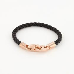 Lure Single Wrap Rope Bracelet with Rose Gold Brummels in black