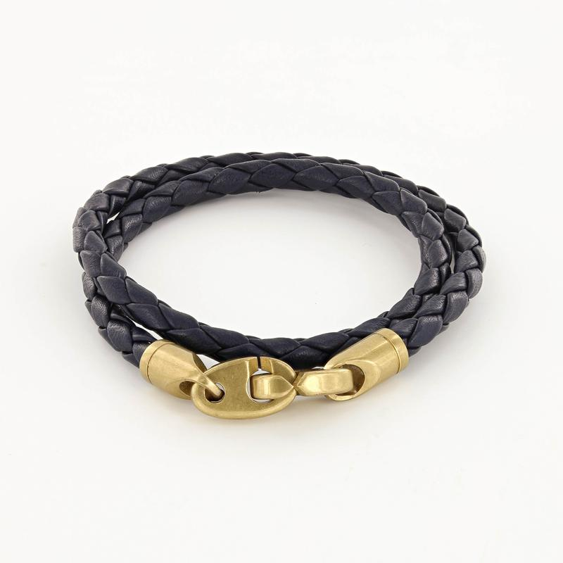 Journey Double Wrap Leather Bracelet with Matte Brass Brummels in Midnight Navy