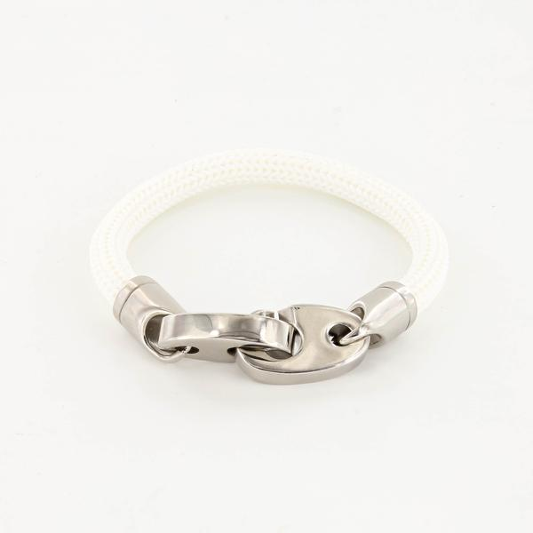 Charter Big Brummel Bracelet with Braided Rubber Wrap in Polished Stainless Steel and White