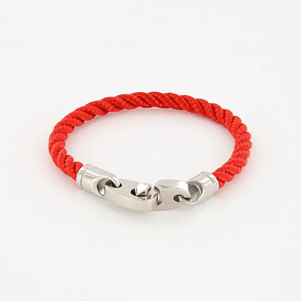 Elsewhere Single Wrap Rope Bracelet with Stainless Steel Brummels in reel red