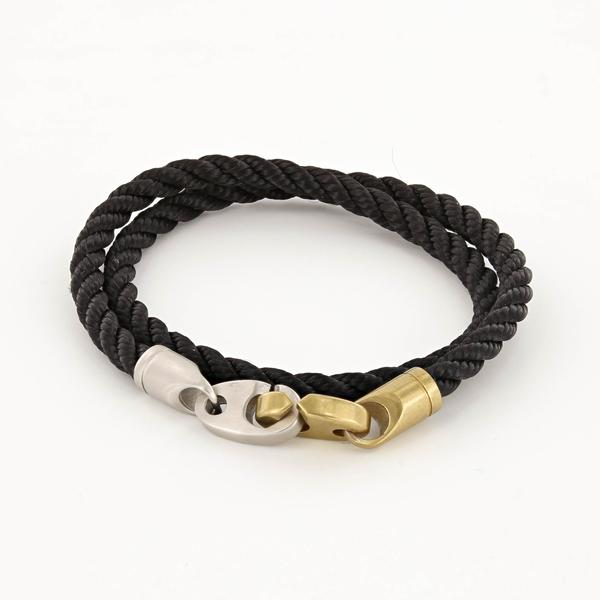 Brak Double Wrap Rope Bracelet with Matte Brass and Matte Stainless Steel Brummels in Black