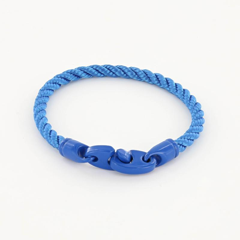 Signal single wrap rope men's bracelet with ocean blue powder coated brummels and ocean blue rope