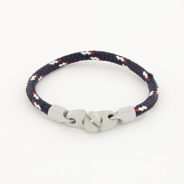 Signal single wrap rope men's bracelet with light gray powder coated brummels and navy, red, white rope