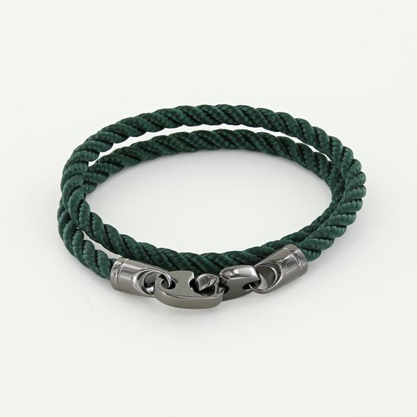 Player Double Wrap Rope Bracelet with Nickel Antique Brummels in Evergreen