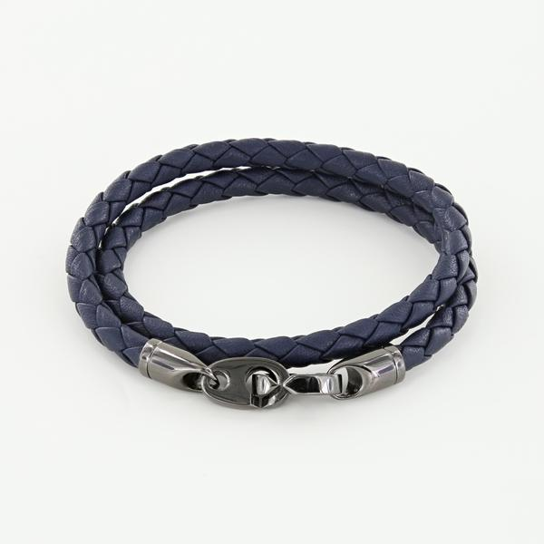 Player Double Wrap Leather Bracelet with Nickel Antique Brummels in Midnight Navy
