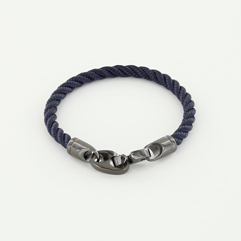 Player Single Wrap Rope Bracelet with Nickel Antique Brummels in Navy