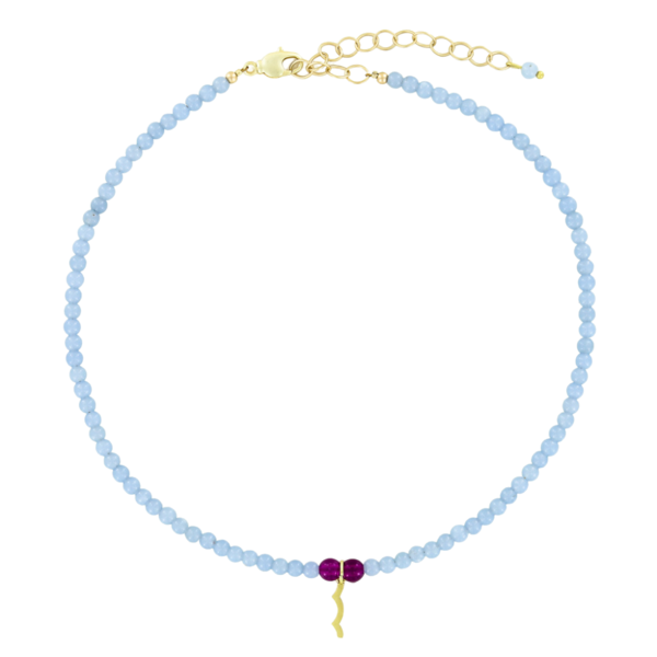 UV Awareness beaded Necklace for sun safety in Angelite