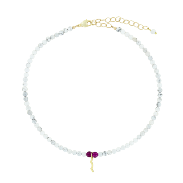 UV Awareness beaded Necklace for sun safety in howlite