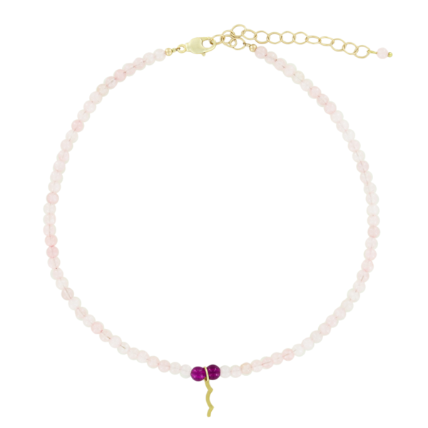 UV Awareness beaded Necklace for sun safety in rose quartz