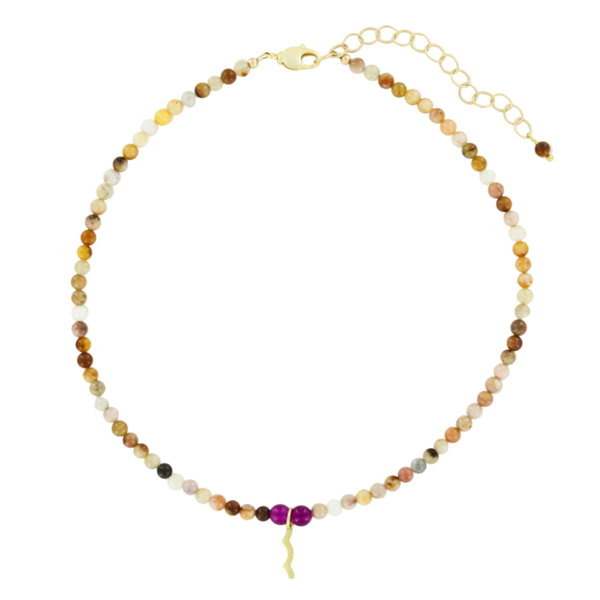 UV Awareness beaded Necklace for sun safety in topaz jade