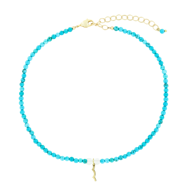 UV Awareness beaded Necklace for sun safety in turquoise