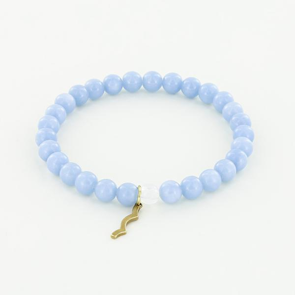 UV Awareness Rayminder Bracelet in Angelite 4mm 6mm beads