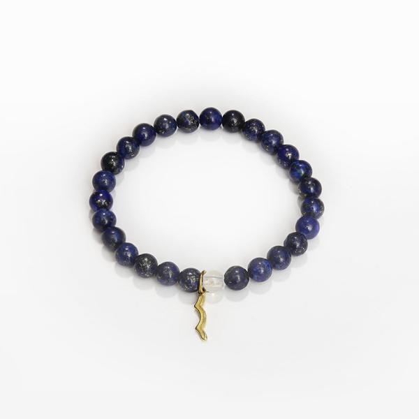 UV awareness beaded beach bracelet for sun safety in lapis lazuli