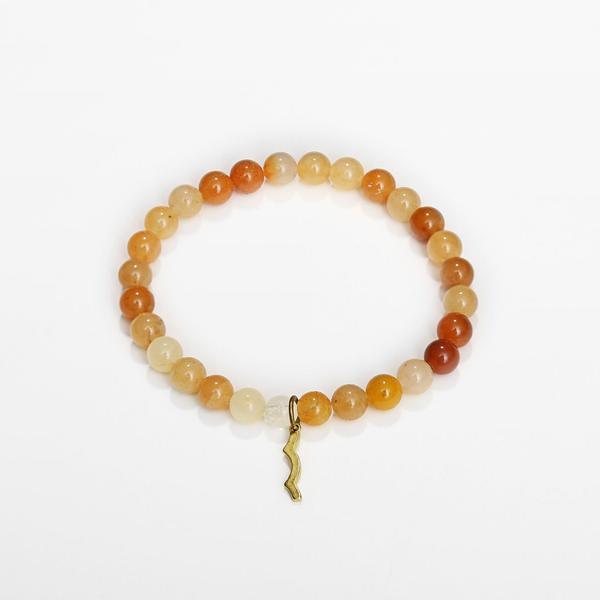 UV awareness beaded beach bracelet for sun safety in topaz jade