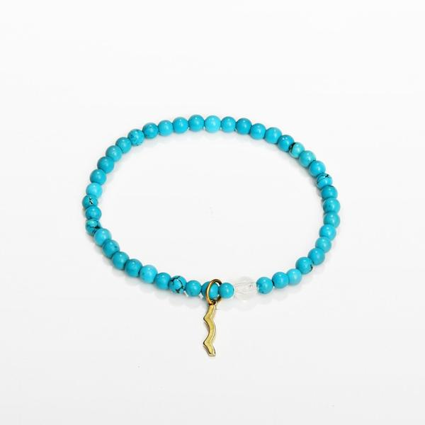 UV awareness beaded beach bracelet for sun safety in turquoise