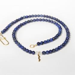 UV Awareness beaded Necklace for sun safety in lapis lazuli