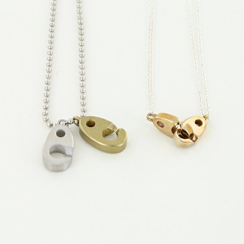 his and her's big brummel nautical dog tag necklace with double brummel necklace in brass and sterling silver