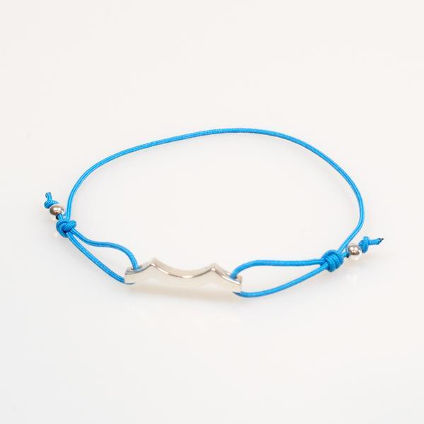 sterling silver tidal wave bracelet in ocean blue