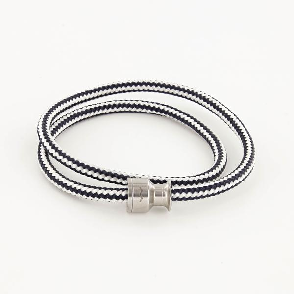 voyager double wrap rope bracelet with stainless steel clasp