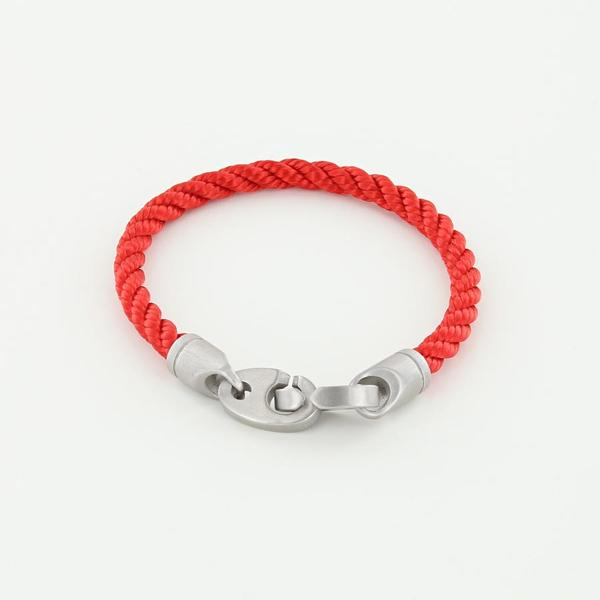 catch single wrap rope bracelet for men in red with matte stainless steel brummels