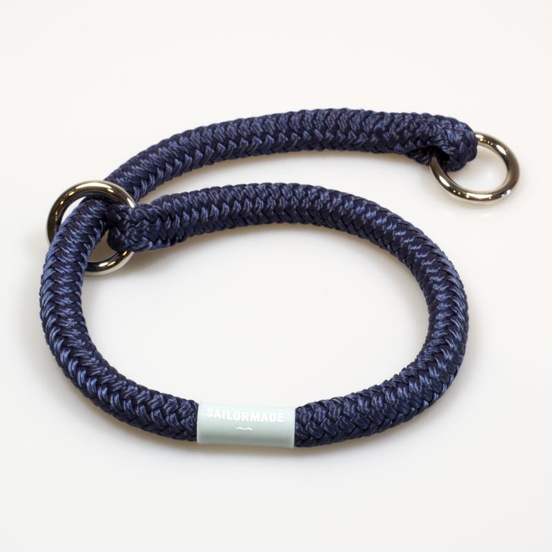 Riptide Reggie Rope Dog Collar in Navy Blue