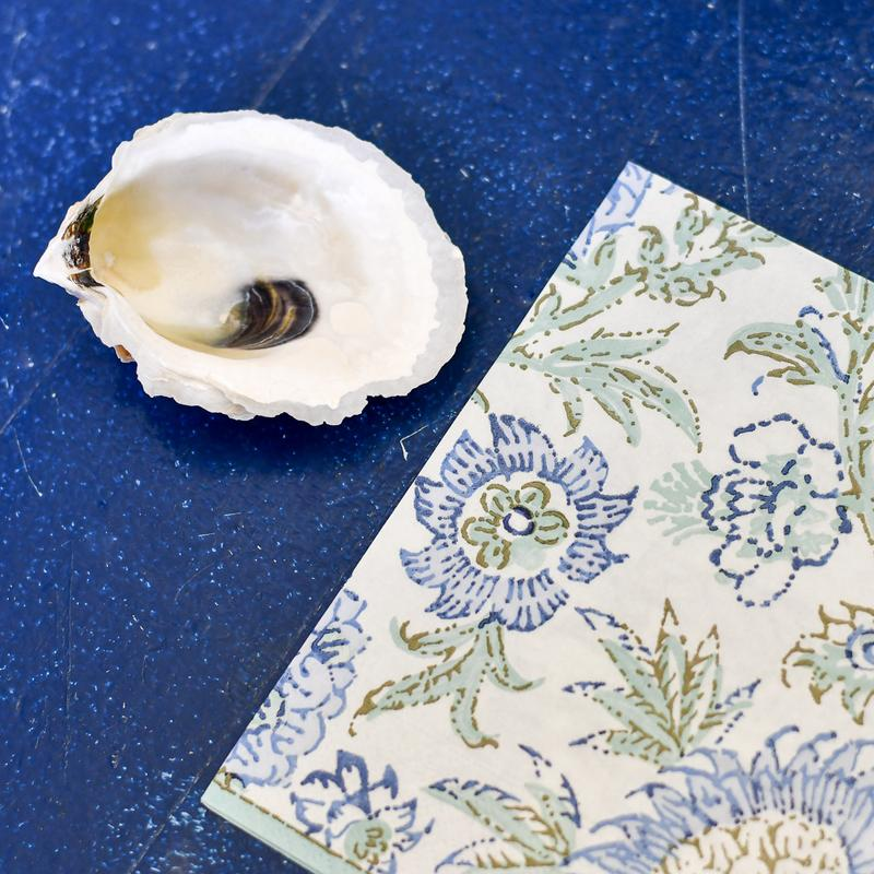 decoupage oyster shell diy kit in blue floral