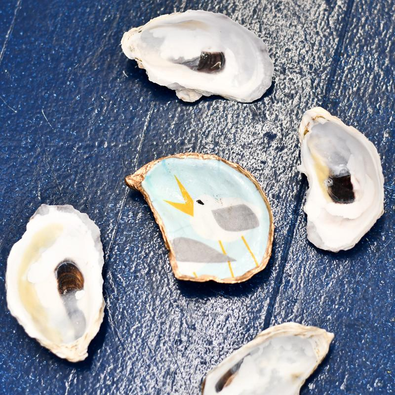 decoupage oyster shell diy kit in singing Seagulls