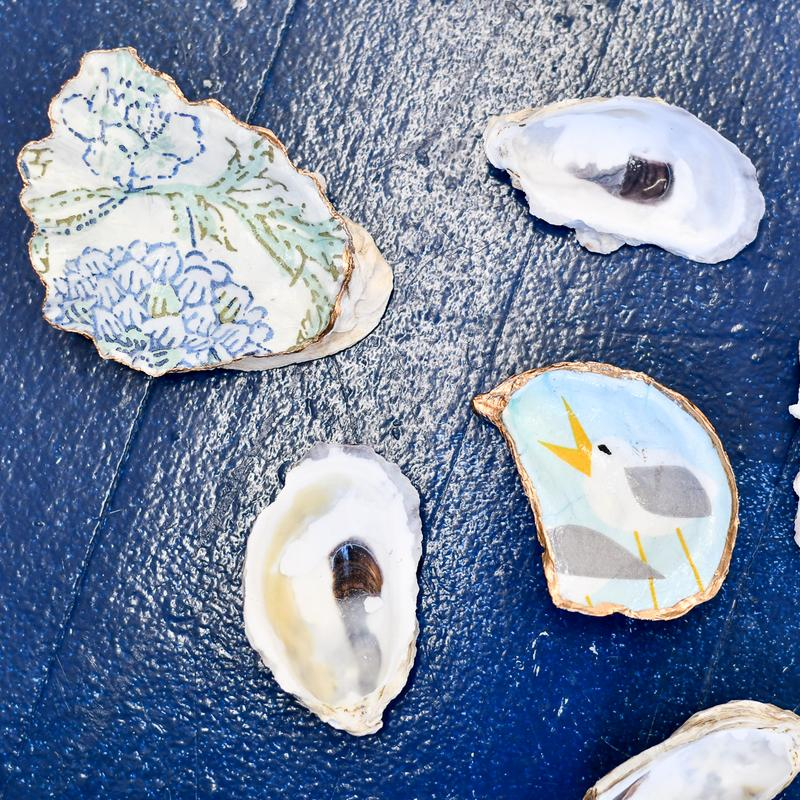 decoupage oyster shell diy kit in singing Seagulls and blue floral
