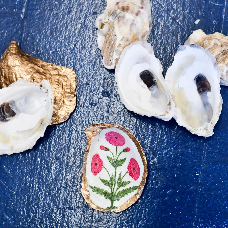 decoupage oyster shell diy kit in singing Seagulls, pink blooms, and blue floral