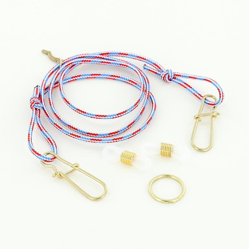 nautical adjustable rope mask strap and sunglasses retainer with o-ring in red, white and blue