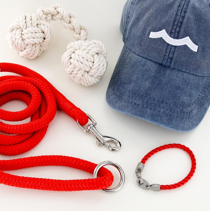 mens nautical rope bracelet, rope dog leash, rope dog toy, and hat in reel red