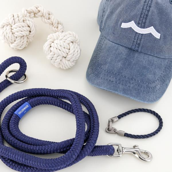 mens nautical rope bracelet, rope dog leash, rope dog toy, and hat in navy