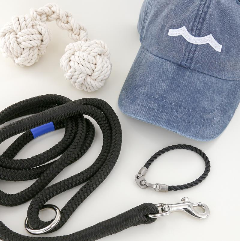 mens nautical rope bracelet, rope dog leash, rope dog toy, and hat in black