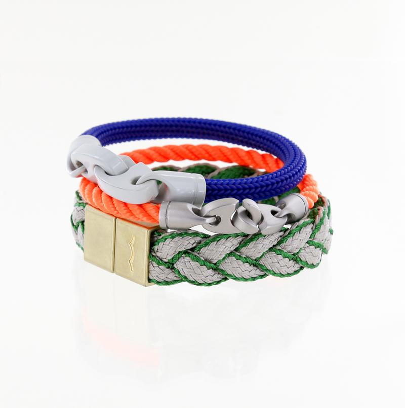 men's nautical rope bracelets and magnetic braided bracelet in blue, buoy orange, and greens
