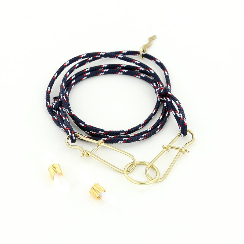 nautical adjustable rope mask strap and sunglasses retainer with o-ring in red, white and navy