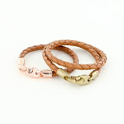 third wedding anniversary nautical leather bracelet set