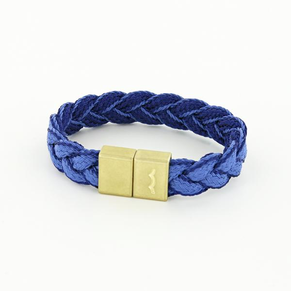 League Bracelet with blue Braid and Magnetic Clasp in Brass and