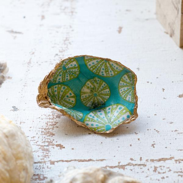 decoupage oyster shell diy kit in sea urchin