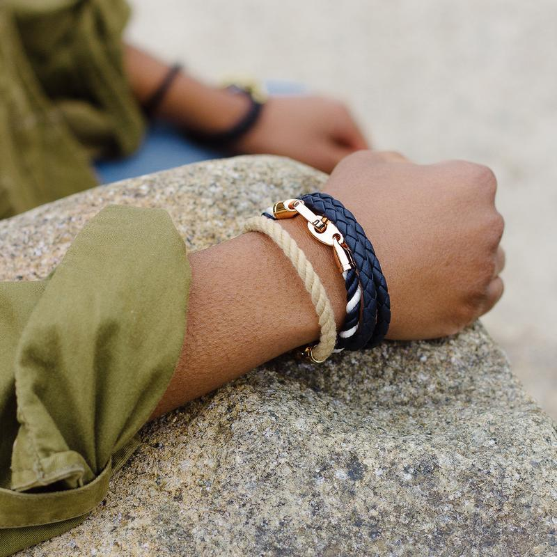 Lure Single Wrap Rope Bracelet with Rose Gold Brummels in natural wheat and navy white