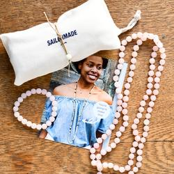 Whatknot Beaded Necklace + Bracelet Kit in Rose Quartz